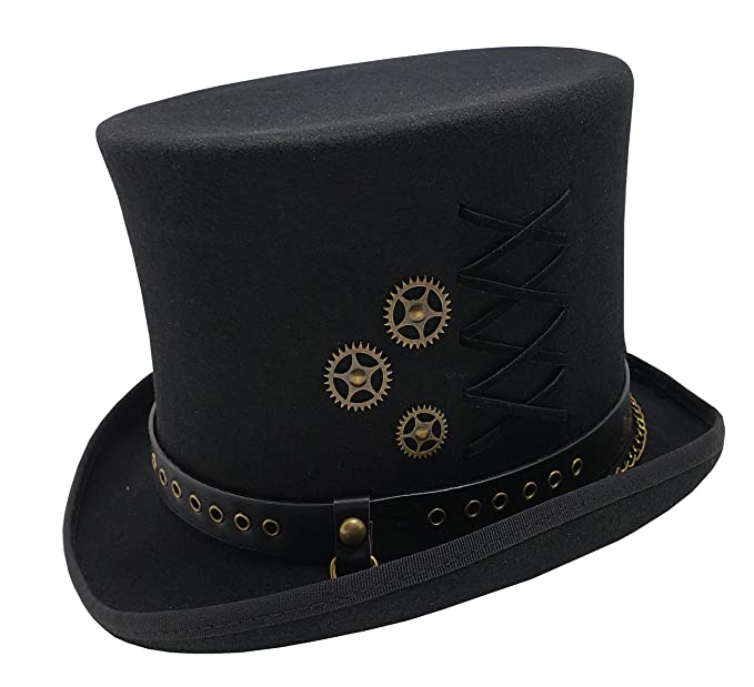 Steampunk Hats | Top Hats | Bowler Different Touch 100% Wool Felt Victorian Mad Hatter Steampunk 6 Tall Magic Top Hats $49.99 AT vintagedancer.com