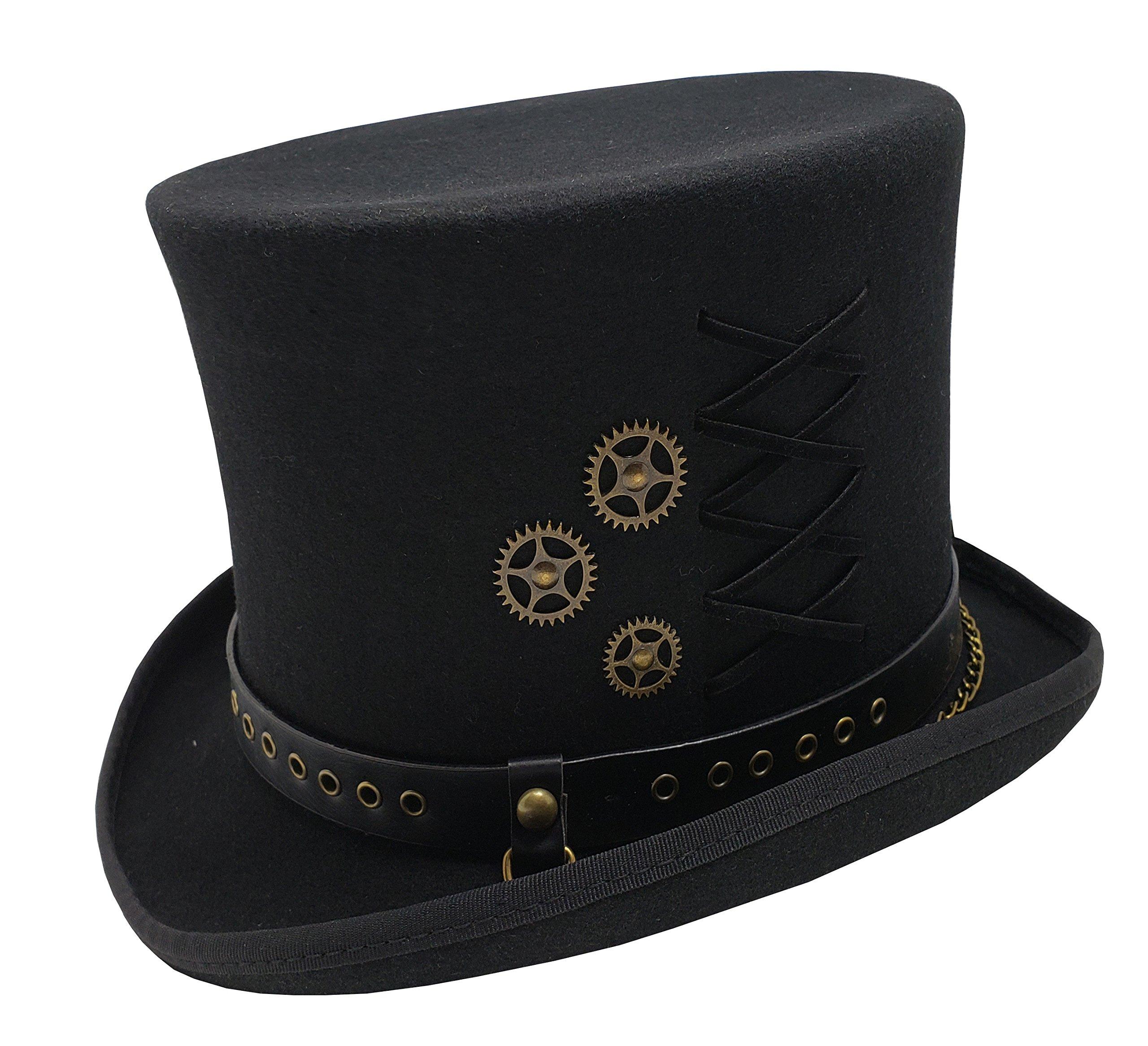 Different Touch 100% Wool Felt Steampunk 6'' Tall Top Hats (XL, Black)