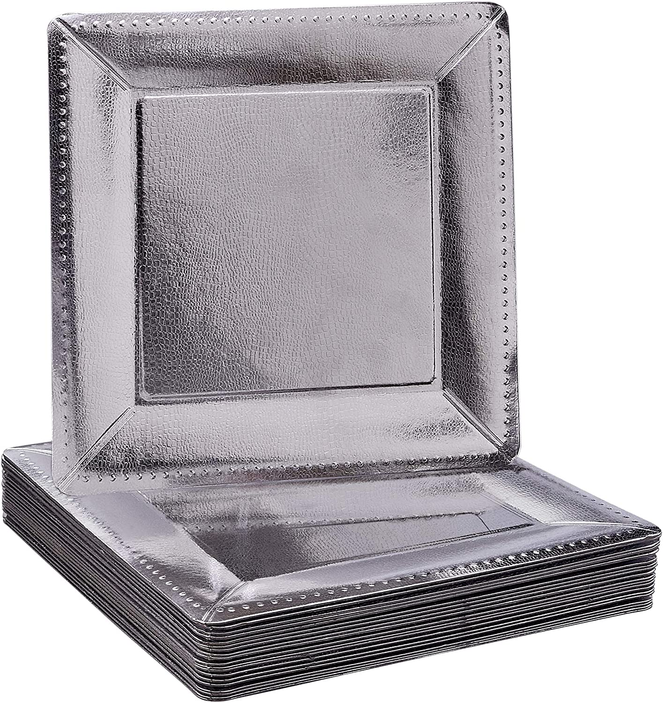 Silver Spoons 1827 Conjunto CUADRADAS Desechables | 20 Bandejas de cartón Resistente | Elegante Acabado Plateado Bodas y Comidas de Lujo (Charger Collection-Metálico, Paper, Plata Square
