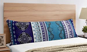 Boho Chic Bohemian Purple Turquoise Blue Grey Mandala Accent Decorative Couch Long Lumbar Throw Zipper Body Pillow Cover Case 54x20 Indian Indie Ethnic Colorful Hippie Bedroom Living Room Decor Dorm