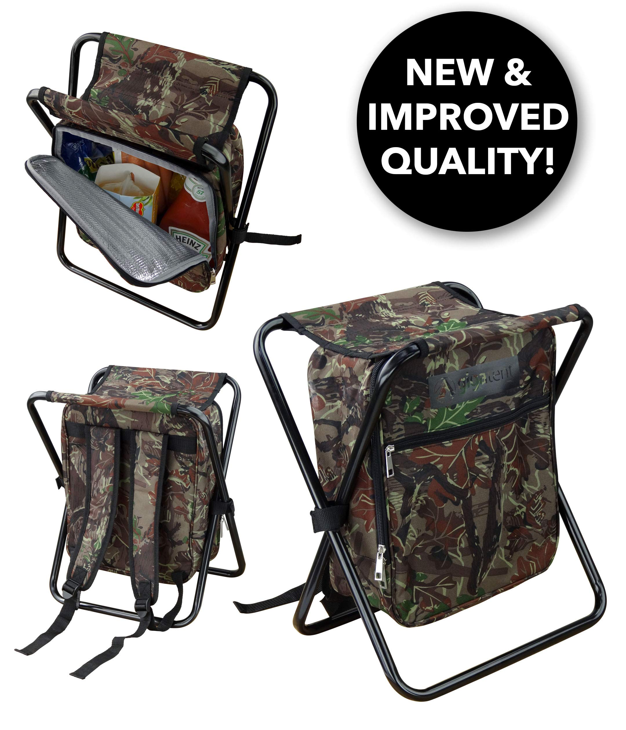 GigaTent Folding Cooler and Stool Backpack - Multifunction Collapsible Camping Seat and Insulated Ice Bag with Padded Shoulder Straps (Camo) by GigaTent