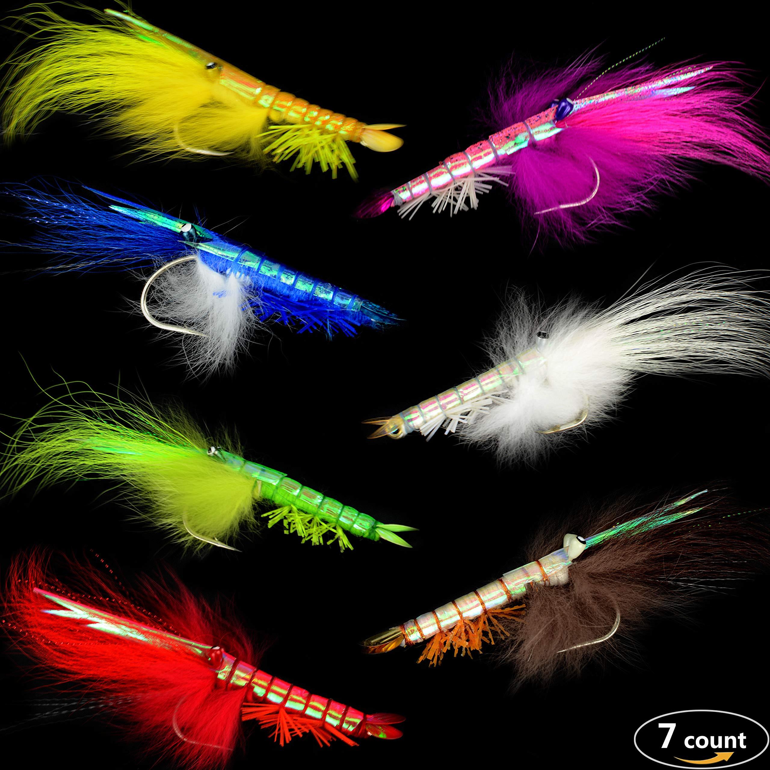 YAZHIDA Realistic Seven Color Shrimp Flies- Saltwater Fly Fishing Flies for Bonefish and Redfish