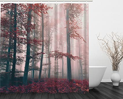 Ambesonne Woodsy Shower Curtain Red Mystic Forest Mystical Charcoal Foggy Country Decor Photography Enchanted Wild