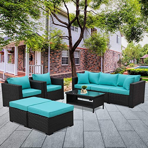 Patio Wicker Furniture Set 6 Pieces Outdoor PE Rattan Conversation Couch Sectional Chair Sofa Set