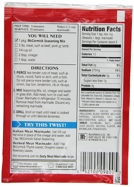 Amazon.com : McCormick Meat Marinade Seasoning Mix, 1.12 oz (Case of ...