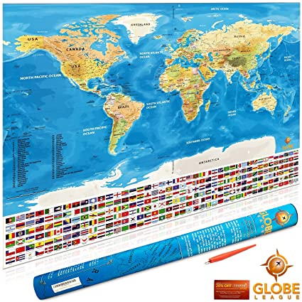 006f15169f Scratch Off World Map Poster by Globe League - with US States and Country  Flags - 32 X 22 inches - Track Your Adventures - Gold and Blue - Perfect  Gift for ...