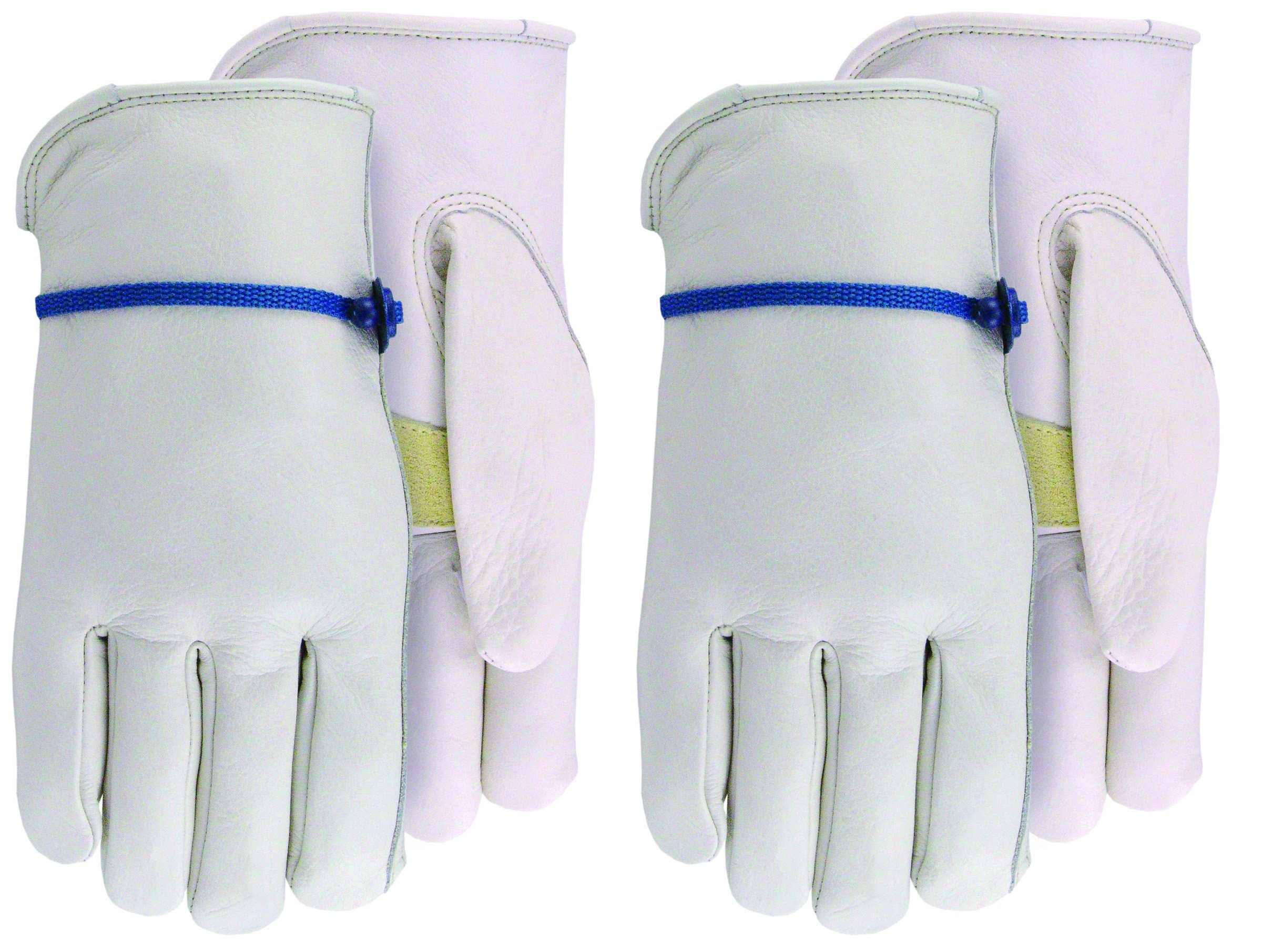 Cowhide Leather Garden Gloves with Ball and Tape Cinch at Wrist, 2929B1, Size: Small
