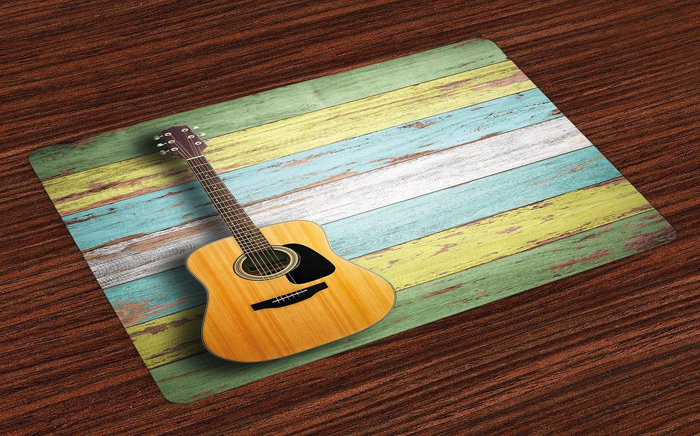 Música de 4 manteles individuales por Ambesonne, guitarra acústica ...