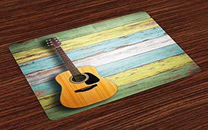 Julkaisupäivä useita värejä aito Amazon.com: Ambesonne Music Place Mats Set of 4, Acoustic ...