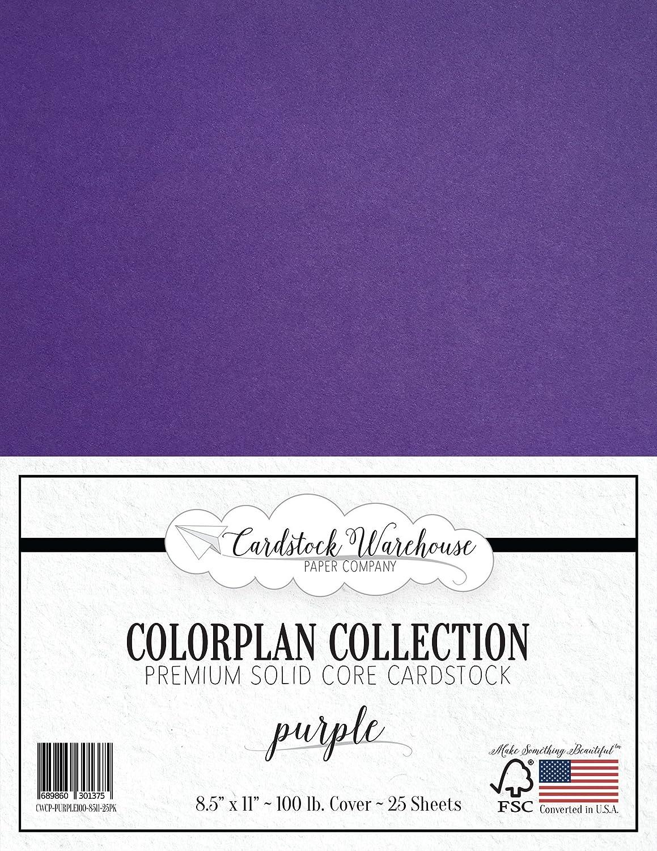 パープルカードストックペーパー - 8.5 x 11インチ プレミアム100ポンド カバー - Cardstock Warehouse 25枚 B01N0EWCS6