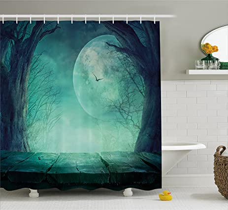 Amazon.com: Halloween Shower Curtain by Ambesonne, Spooky Teal ...