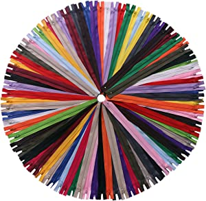 YAKA 60 Pack 14 inch Mix Nylon Coil Zippers Bulk - Supplies Zippers for Tailor Sewing Crafts (20 Color)