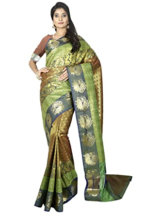 c0cafed457 arars Women's Kanchipuram Silk Saree with Blouse Piece (Green, Free Size)