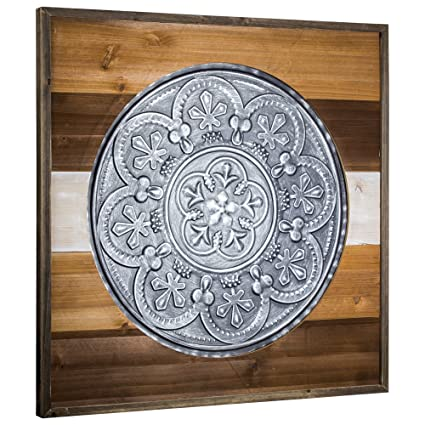 American Art Decor Framed Metal Medallion on Wood Farmhouse Wall Decor  sc 1 st  Amazon.com : framed medallion wall art - www.pureclipart.com