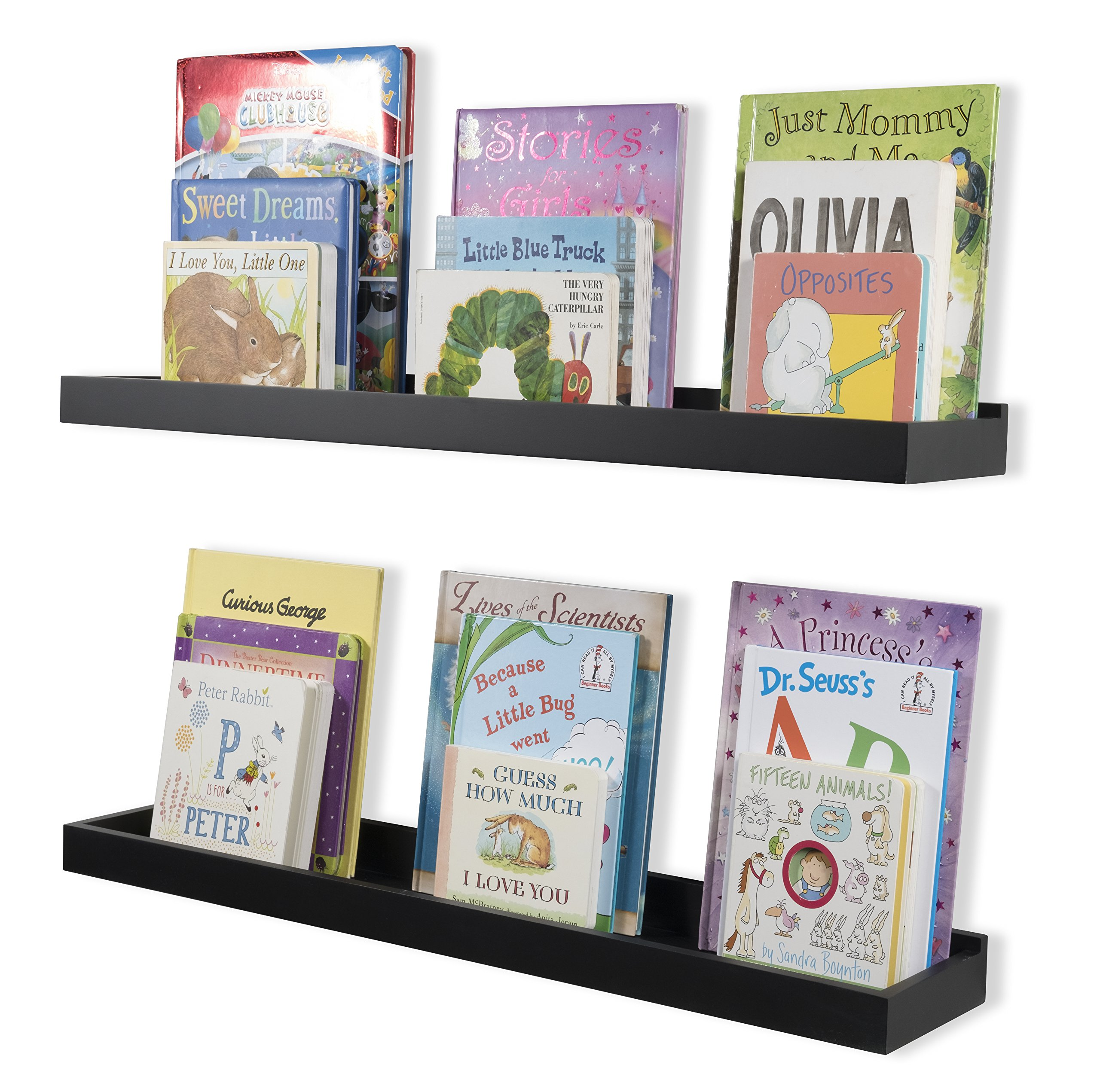 Wallniture Nursery Room Decor - Floating Book Shelves for Kids Room - 31 Inch Picture Ledge - Tray Toy Storage Display Black Set of 2
