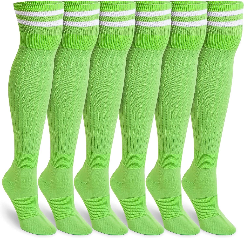 Green Knee High Soccer Socks (Unisex, Large, 3 Pairs): Clothing