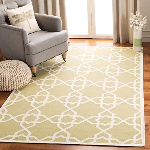 Safavieh Dhurries Collection DHU548A Hand Woven Olive and Ivory Premium Wool Area Rug 4 x 6