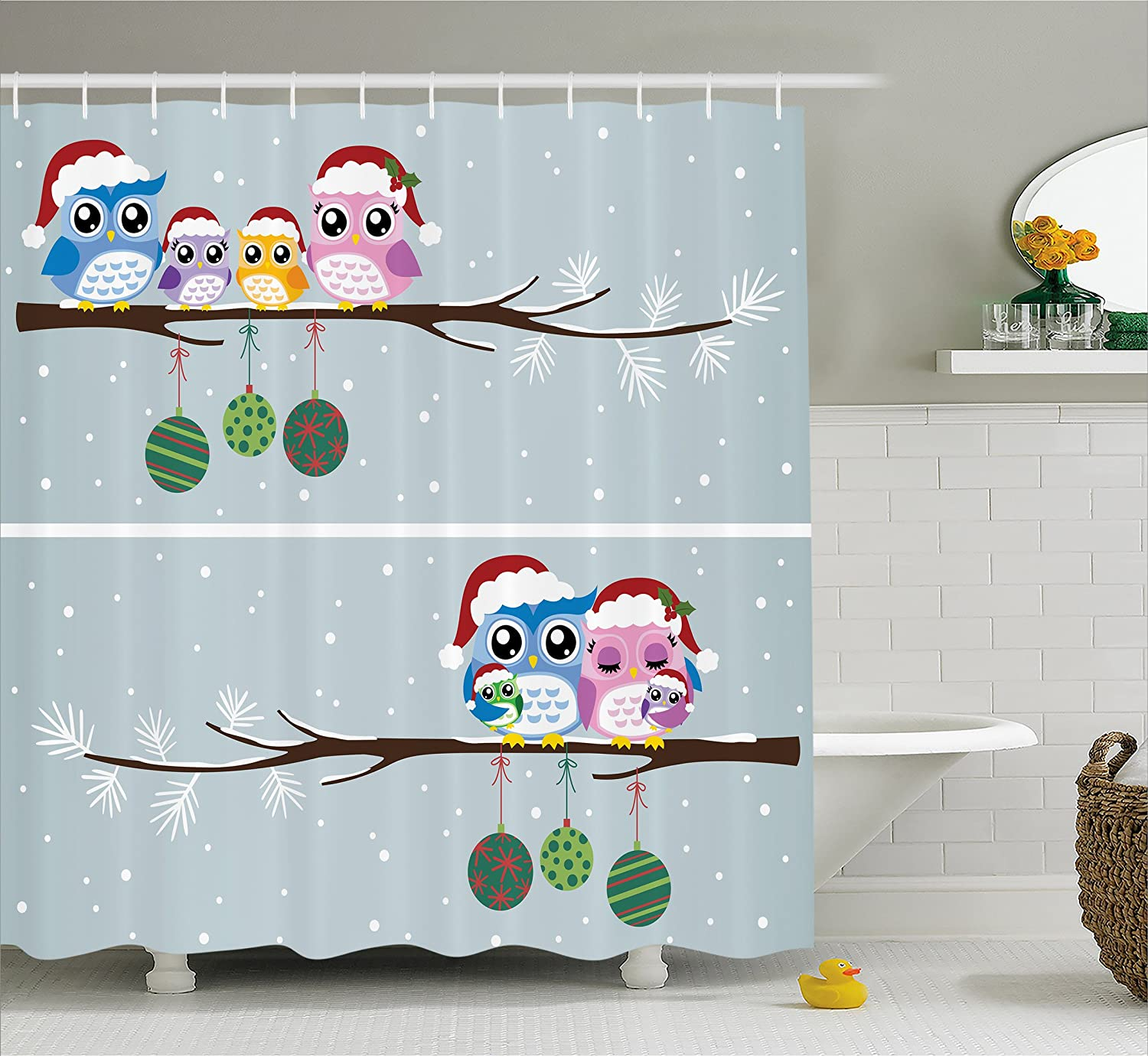"""Ambesonne Christmas Shower Curtain, Cloth Fabric Bathroom Decor Set with Hooks, Branch Winter Night, 70"""" Long"""