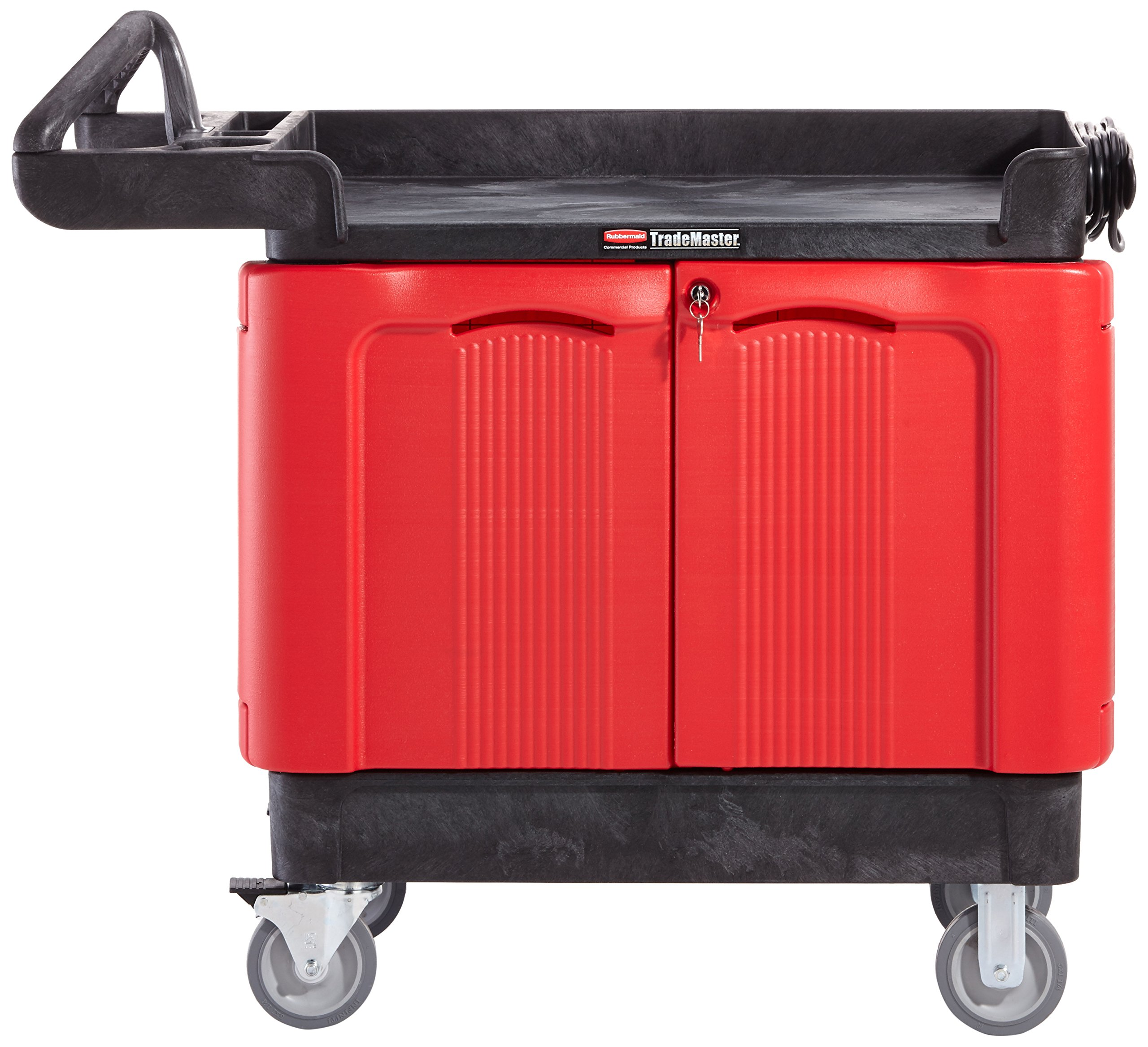 Rubbermaid Commercial TradeMaster Cart with Cabinet, 38'' L x 42'' W x 18'' H, Black/Red (FG451288BLA)
