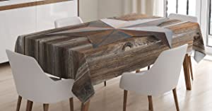 """Ambesonne Prehistoric Country Tablecloth, Antique Rusty Star on The Weathered Wooden Planks Vintage Retro Image, Rectangular Table Cover for Dining Room Kitchen Decor, 60"""" X 84"""", Brown"""