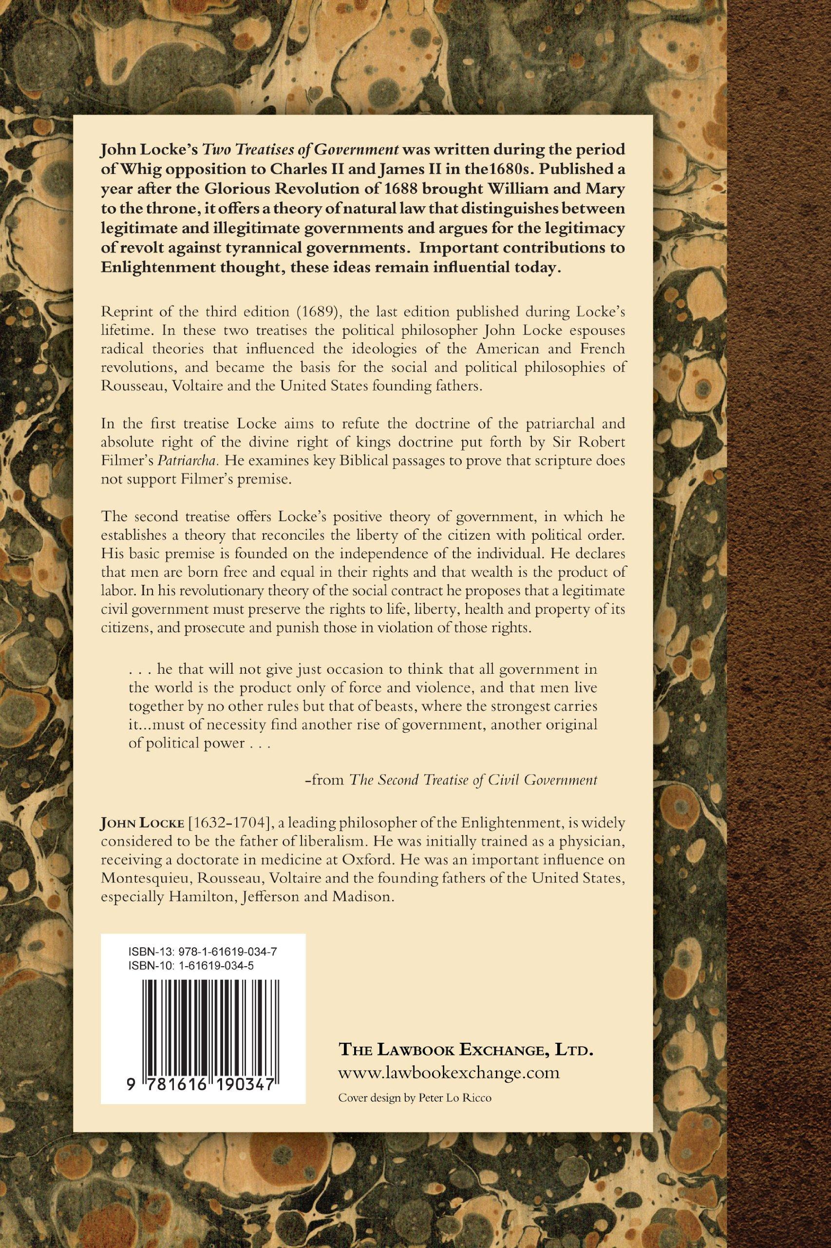 Two Treatises Of Government: Amazon: John Locke: 9781616190347: Books