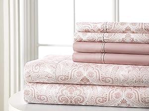 Spirit Linen Home 6 PC Paisley Sheet Set Soft Pink Twin