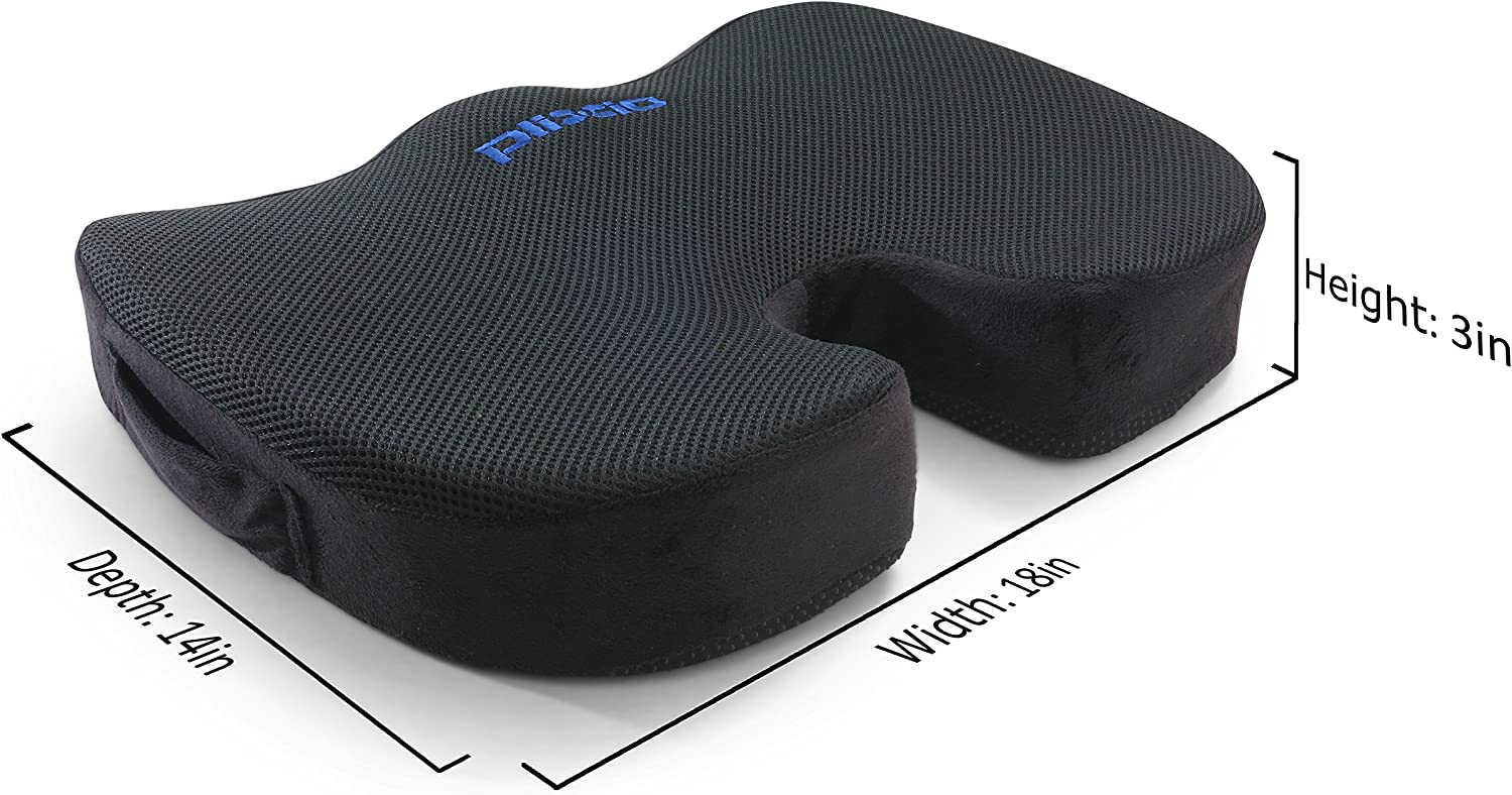 Plixio Memory Foam Seat Cushion - Chair Pillow for Sciatica, Coccyx, Back & Tailbone Pain Relief - Orthopedic Chair Pad for Support in Office Desk Chair, Car, Wheelchair & Airplane: Home & Kitchen