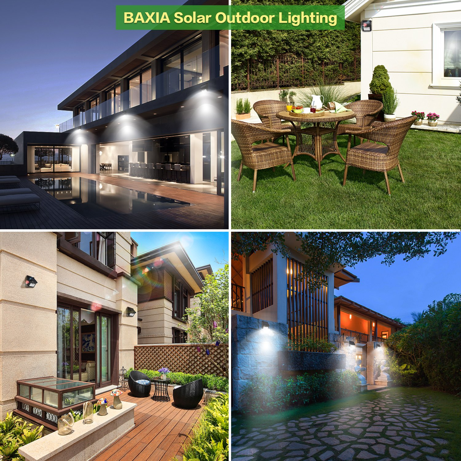 4 Packs Wall,Driveway Yard Door Patio Garden Solar Lights Outdoor,Solar Motion Lights 400LM,BAXIA TECHNOLOGY Waterproof Wireless Bright 28 LED Motion Sensor Security Light for Outdoor Gate