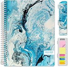 """HARDCOVER Academic Planner 2019-2020: (July 2019 Through July 2020) 8.5""""x11"""" Daily Weekly Monthly Planner Yearly Agenda. Bonus Bookmark, Pocket Folder and Sticky Note Set (Blue Marble)"""