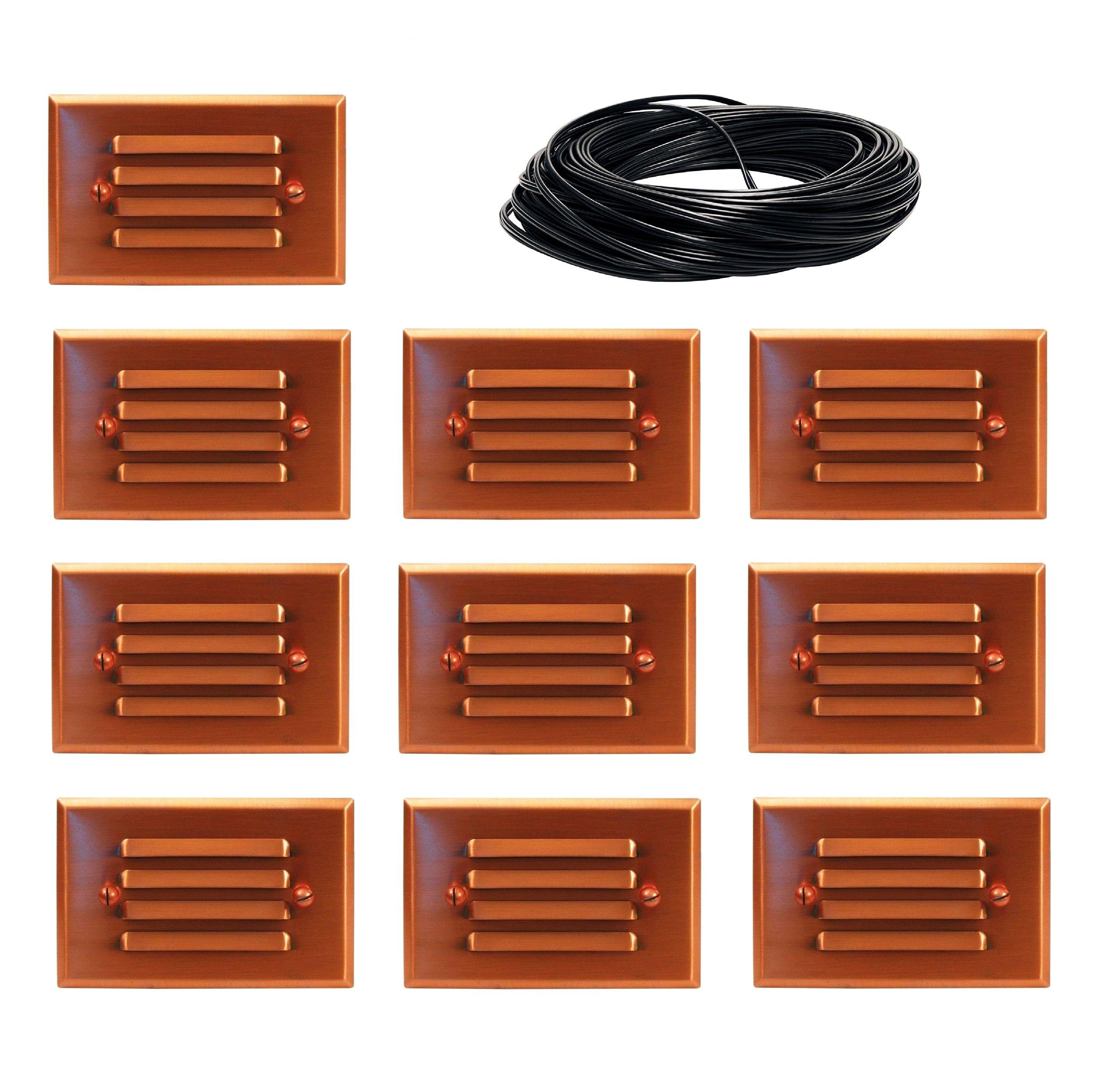 10 Pack Malibu 8421-2401-01 LED Half Brick Deck Step Light Copper + 100 ft landscape wire NO TRANSFORMER INCLUDED. BY MALIBU DISTRIBUTION