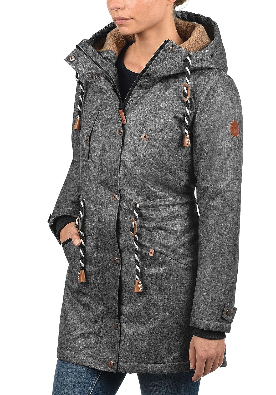 BlendShe Dale Manteau d'hiver avec Peau De Mouton Parka d'hiver Veste Longue pour Femme À Capuche Doublure DePeluche Black Melange (200049)