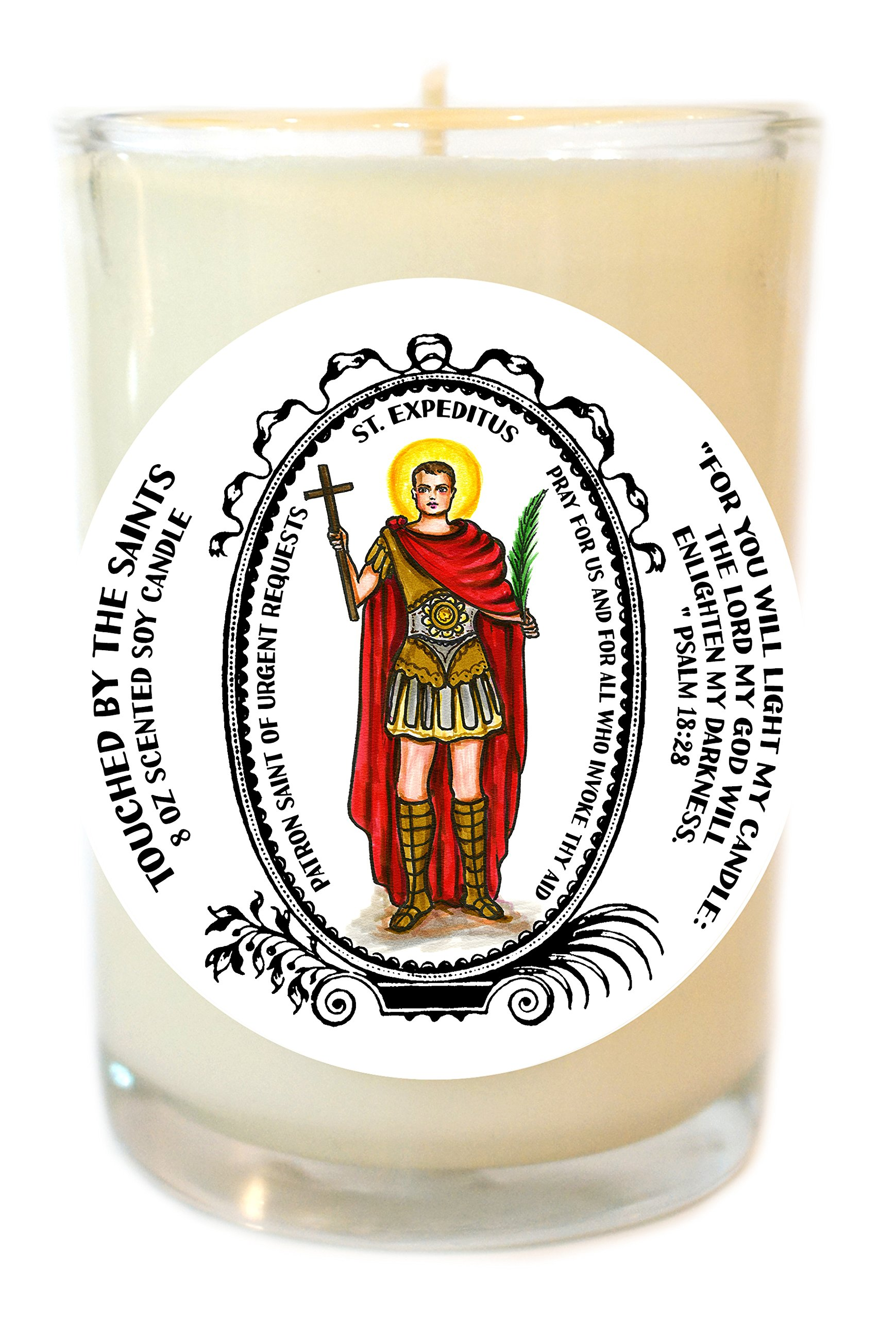 Saint Expeditus for Urgent Requests 8 Oz Scented Soy Glass Prayer Candle