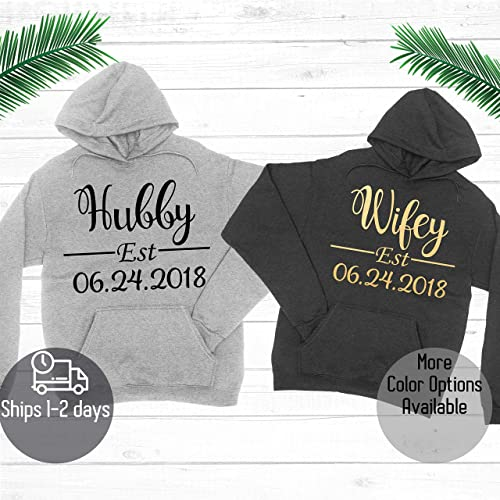 a72447e670 Amazon.com: Hubby and Wifey Hoodie - Custom Couple Hoodie - Add Est. Date  on Hoodie - Custom Couple Sweatshirt: Handmade