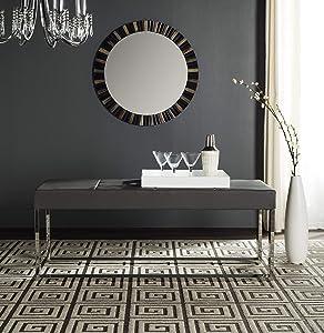Safavieh Home Collection Marc Modern Glam Grey Bench