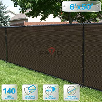 Patio Paradise 6u0027 X 50u0027 Brown Fence Privacy Screen, Commercial Outdoor  Backyard Shade