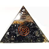 Black Tourmaline Crystal Orgone Pyramid Kit / Includes 4 Crystal Quartz Energy Points / EMF Protection Meditation Yoga Energy Generator