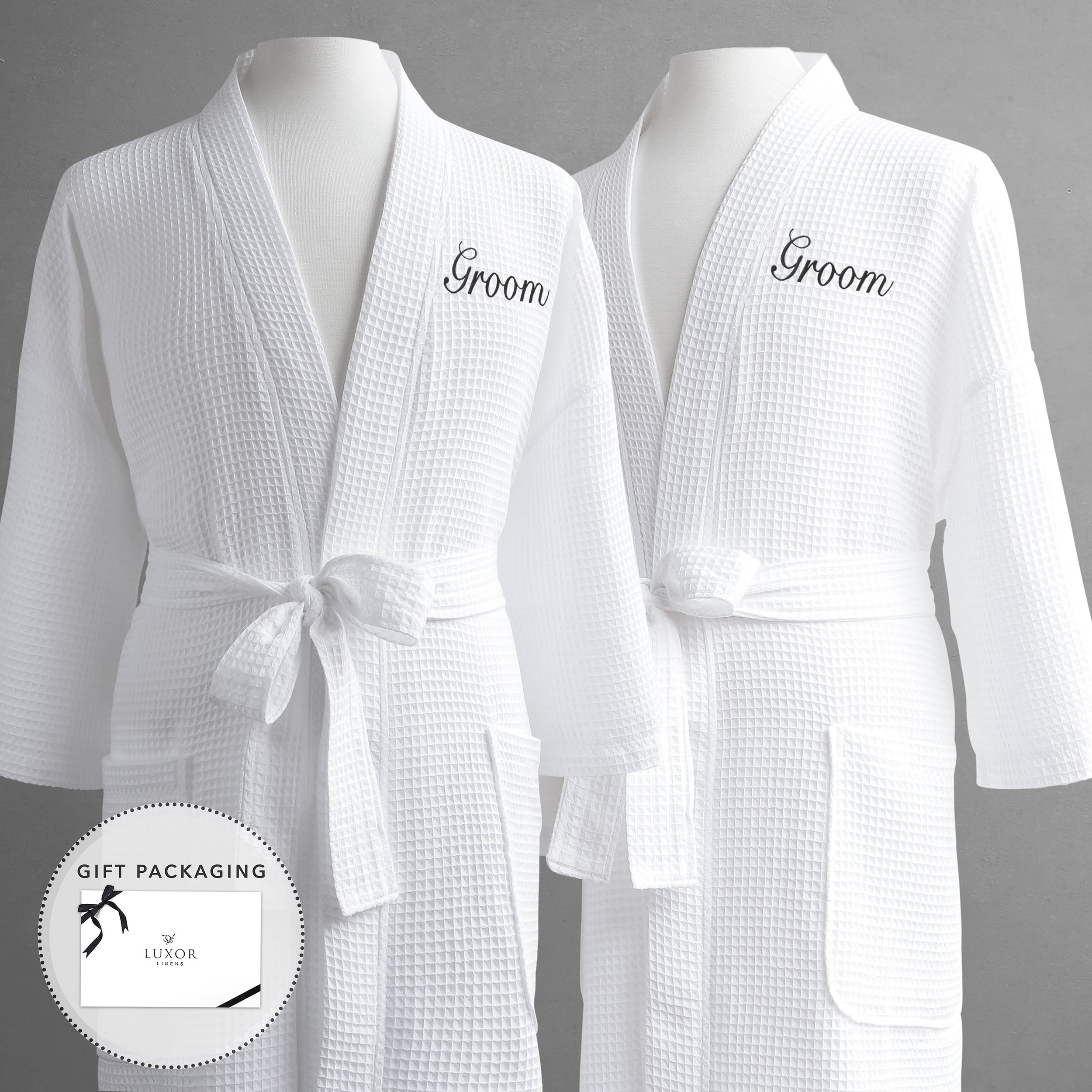 Same-Sex Couple's Waffle Weave Bathrobe Set-100% Egyptian Cotton-Unisex/One Size Fits Most-Spa Robe, Luxurious, Soft, Plush, Elegant Script Embroidery-Luxor Linens-Groom/Groom with Gift Packaging