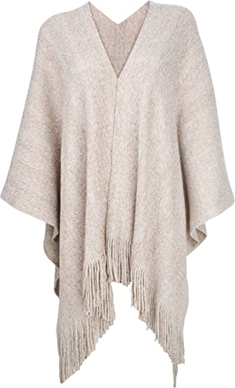 ZLYC Women's Sweater Shawl Golden Line Knit Blanket Wrap Open Front Fringe Poncho Cape Cardigan