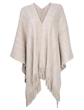 ZLYC Women s Night Sparkle Sweater Shawl Knit Blanket Wrap Open Front  Fringe Poncho Cape Cardigan( 5f250b9eb