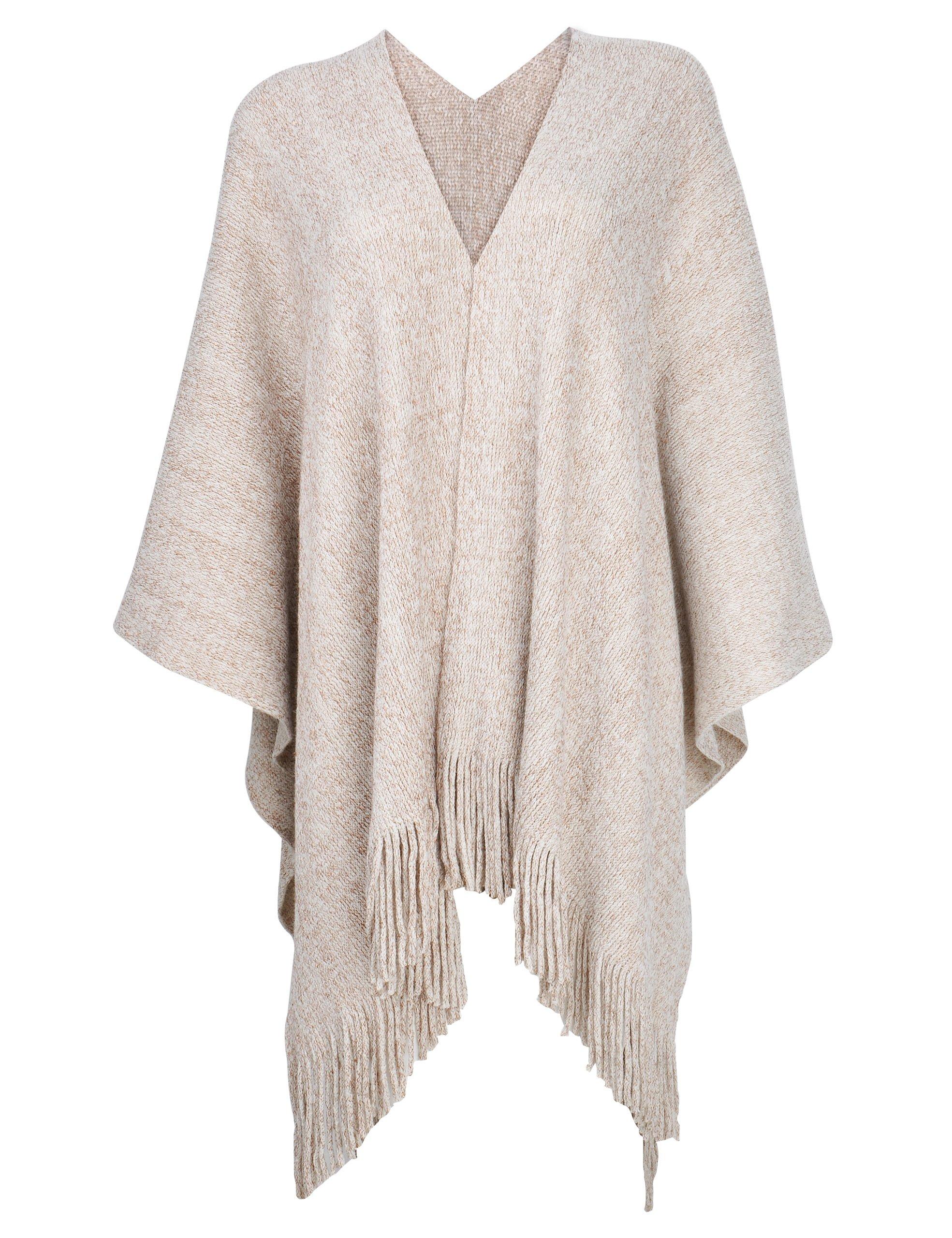 ZLYC Women's Night Sparkle Sweater Shawl Knit Blanket Wrap Open Front Fringe Poncho Cape Cardigan(Beige)