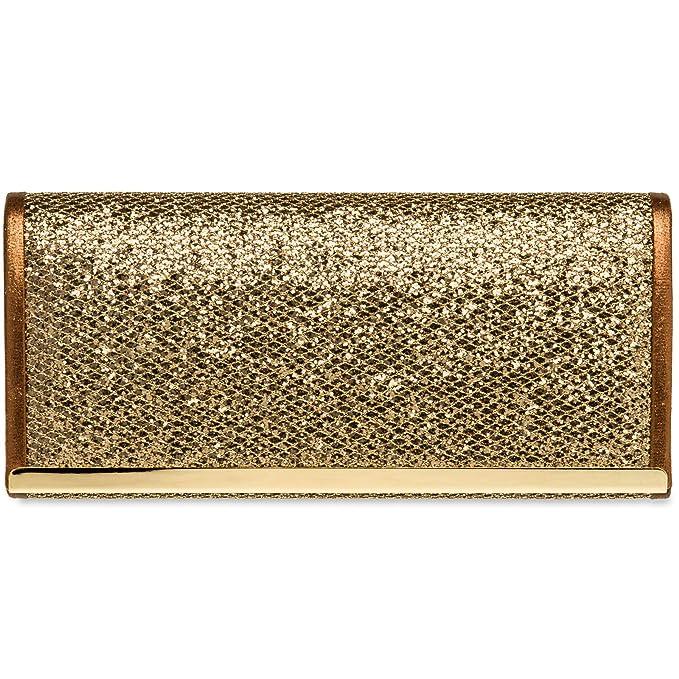 282197a6a CASPAR TA395 Bolso de Mano Brillo para Mujer/Clutch Fiesta con Estampado de  Piel de Serpiente, Color:bronce;Tamaño:Talla Única: Amazon.es: Ropa y  accesorios