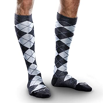 be43cdb231 Image Unavailable. Image not available for. Color: Core-Spun Mild (15-20mmHg)  Support Patterned Knee High Socks-Slate