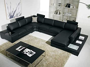 Superieur T35   Black Bonded Leather Sectional Sofa With Headrests