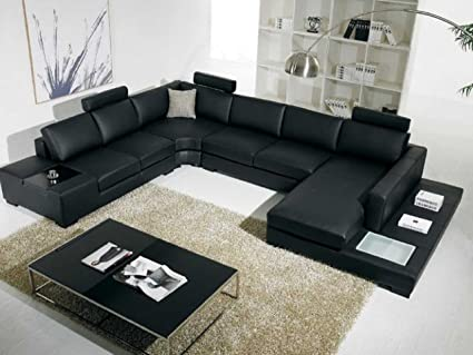 VIG Furniture T35 Black Leather Sectional with Headrests and Light