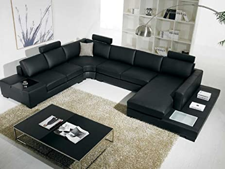 T35 Modern Black Sectional Sofa With 3 Headrests