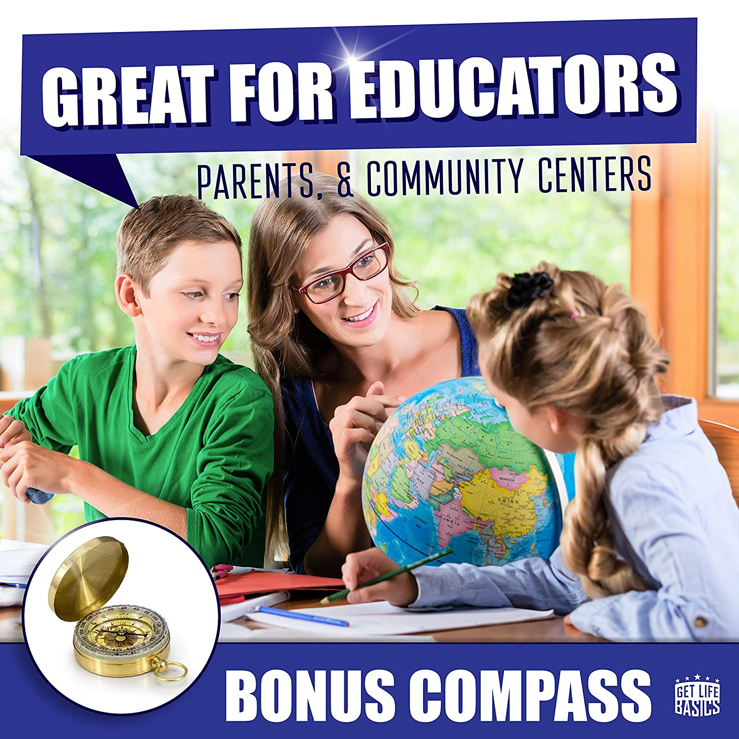"""Interactive Earth Globe Makes Great Educational Toys World Globe with Illuminated Constellations More by Get Life Basics Office Supplies Teacher Desk D/écor 13/"""" Light Up Globe For Kids /& Adults"""