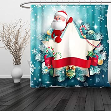 haixia shower curtain christmas decorations santa star banner snowflakes ribbon and candy cane tree winter theme - Red White And Turquoise Christmas Decor