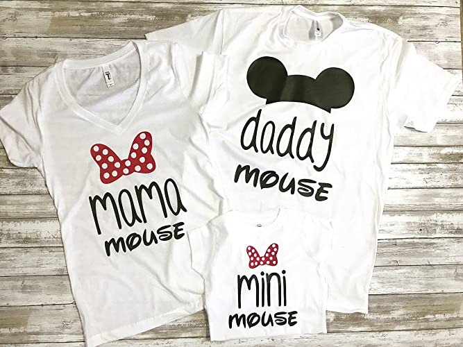 4a39c9d01 Amazon.com: Family Matching Mouse Shirts / Family Disney Vacation Shirts / Mama  Mouse Daddy Mouse Mini Mouse / Mouse Ears Shirts: Handmade