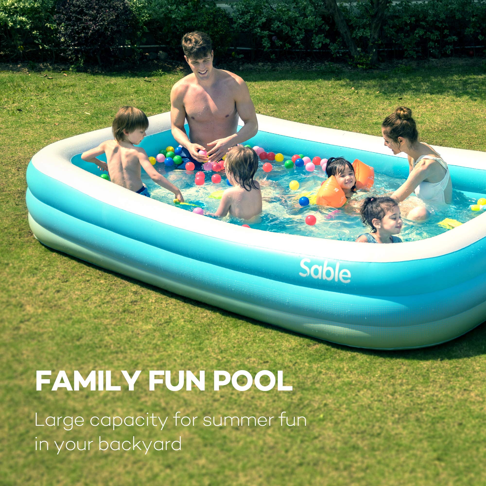 Inflatable Pool, Sable Swimming Pool for Baby, Kiddie, Kids, Adult, Infant, Toddler, 118'' X 72'' X 20'', for Ages 3+ by Sable (Image #2)