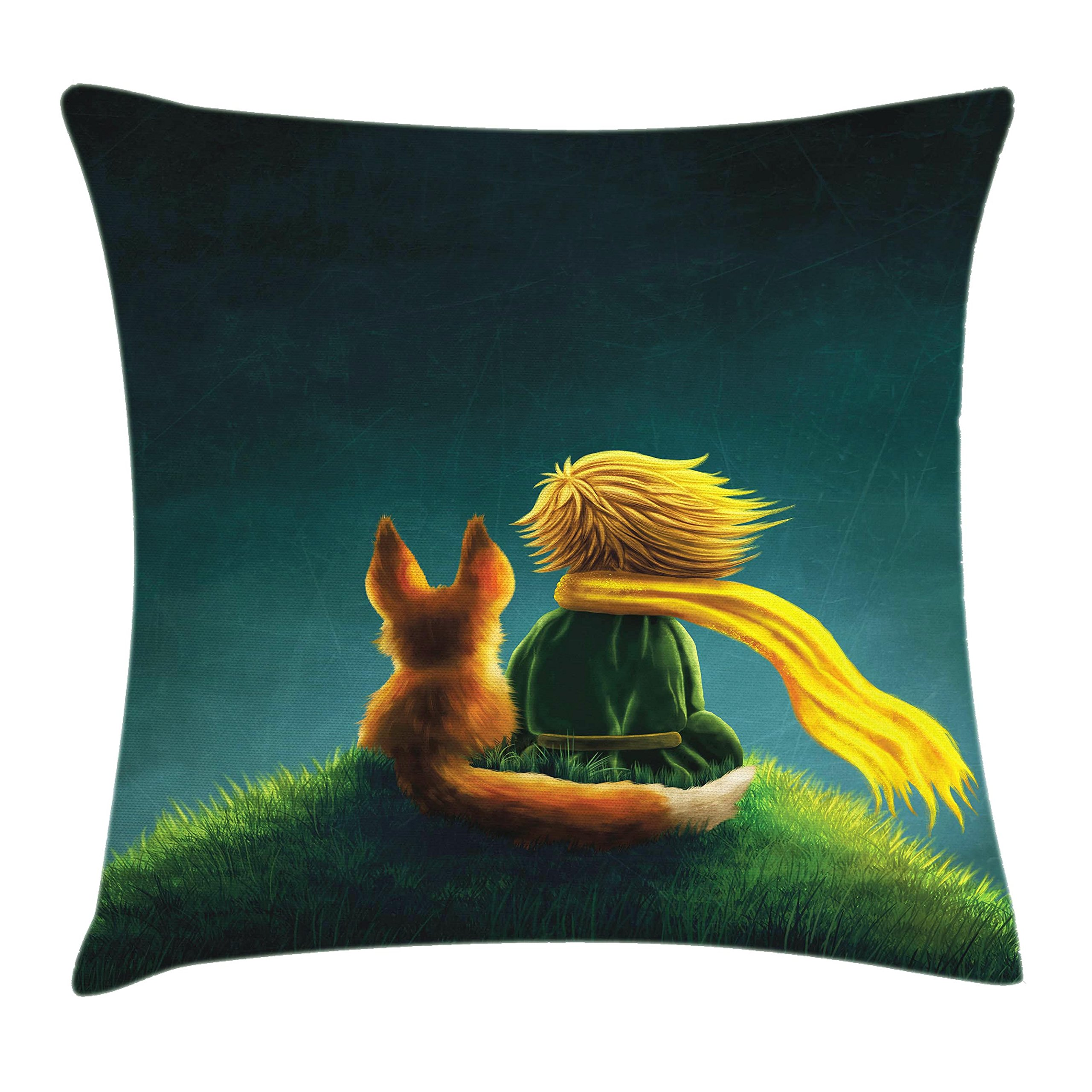 Ambesonne Kids Decor Throw Pillow Cushion Cover by, Childrens Decor Little Prince and the Fox Looking at the Sky Pattern, Decorative Square Accent Pillow Case, 16 X 16 Inches, Dark Blue Fern Green